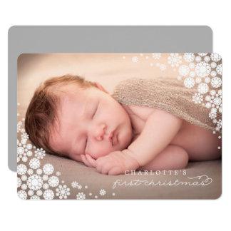 """Primera tarjeta de la foto de los copos de nieve invitación 5"""" x 7"""""""