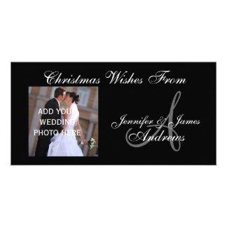 Primera tarjeta de la foto del monograma del navid tarjeta personal con foto