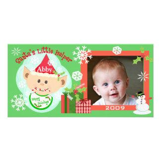 Primera tarjeta de la foto del navidad del bebé de tarjeta personal con foto