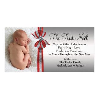 Primera tarjeta de la foto del navidad del bebé de tarjetas personales