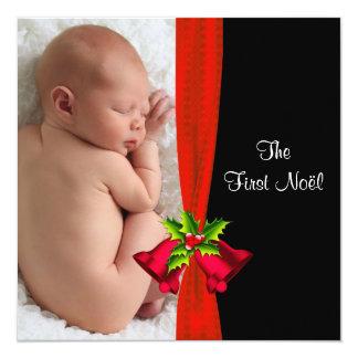 """Primera tarjeta de la foto del navidad del bebé invitación 5.25"""" x 5.25"""""""