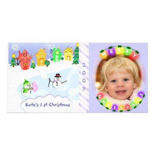 Primera tarjeta de la foto del navidad del bebé tarjeta fotografica