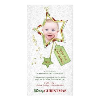 Primera tarjeta de la foto del navidad del bebé tarjeta fotográfica personalizada