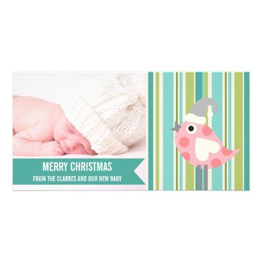 Primera tarjeta de la foto del navidad del bebé ve tarjeta fotográfica