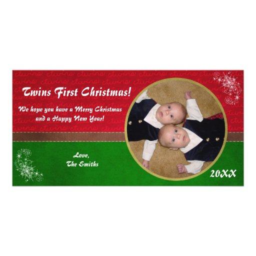 Primera tarjeta de Navidad de los gemelos Tarjetas Fotograficas Personalizadas