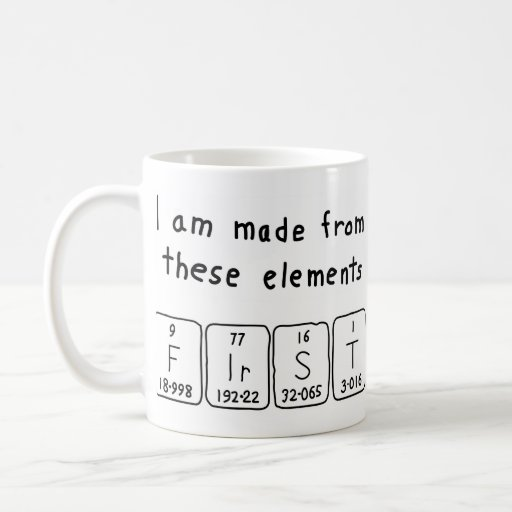 Primera taza del nombre de la tabla periódica