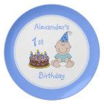 Primera torta del cumpleaños del bebé platos para fiestas