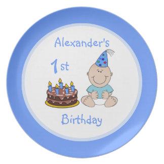 Primera torta del cumpleaños del bebé platos de comidas