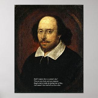 Primeras 4 líneas de soneto # 18 de Shakespeare Póster