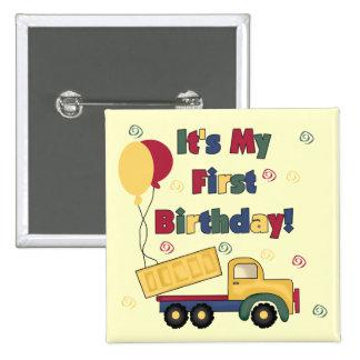 Primeras camisetas y regalos del cumpleaños del ca pin cuadrada 5 cm