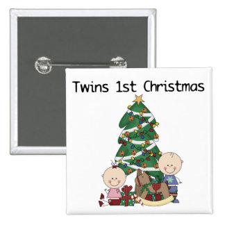 Primeras camisetas y regalos del navidad de los ge pin cuadrada 5 cm