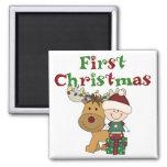 Primeras camisetas y regalos del navidad del reno imanes para frigoríficos