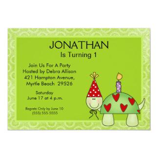 Primeras invitaciones de la tortuga del cumpleaños invitación 12,7 x 17,8 cm