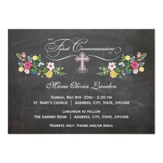 Primeras invitaciones florales de la comunión de invitación 12,7 x 17,8 cm