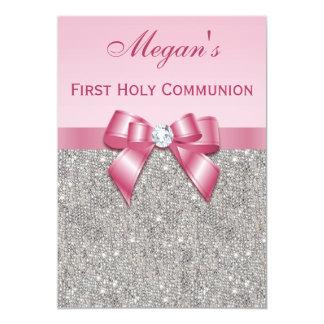 Primeras joyas, arco y diamante de la plata de la invitación 12,7 x 17,8 cm