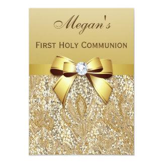 Primeras lentejuelas del oro de la comunión santa, invitación 12,7 x 17,8 cm