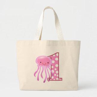 Primeras medusas del cumpleaños bolsa tela grande