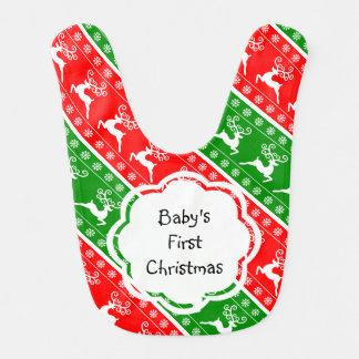 Primeras rayas de los copos de nieve del reno del babero para bebé