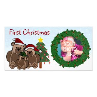 Primeras tarjetas de la foto del navidad tarjeta fotografica personalizada