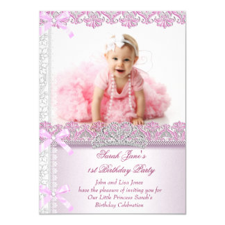 """Primero 1ra princesa Pink Photo de las chicas Invitación 4.5"""" X 6.25"""""""