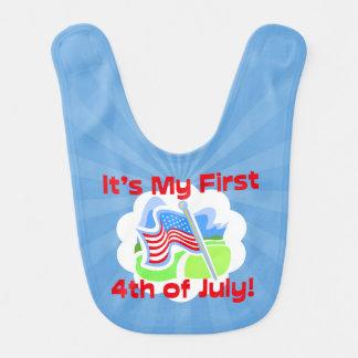 Primero 4to del bebé azul colorido de julio baberos