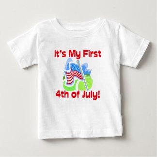 Primero 4to del bebé azul colorido de julio playera para bebé
