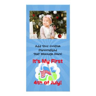 Primero 4to del bebé azul colorido de julio tarjeta personal con foto