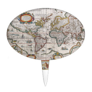 Primero antiguo de la torta del mapa del mundo figura para tarta