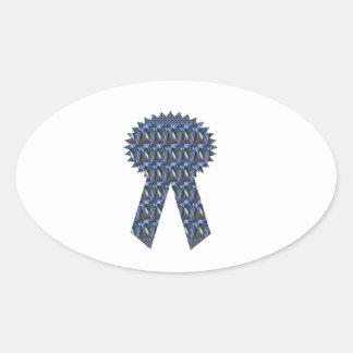 Primero AZUL del ganador del éxito de la CINTA de Pegatina Ovalada