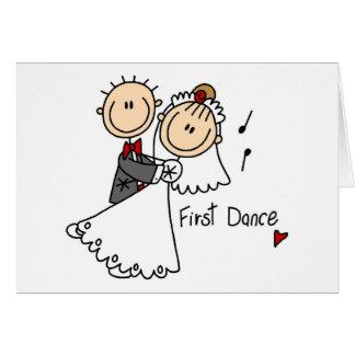 Primero camisetas y regalos del boda de la danza tarjeta de felicitación