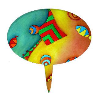 Primero colorido de la torta del arte del océano a palillos de tarta