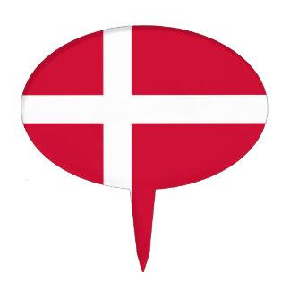 Primero de la torta con la bandera de Dinamarca Figura Para Tarta