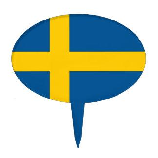 Primero de la torta con la bandera de Suecia Figura Para Tarta