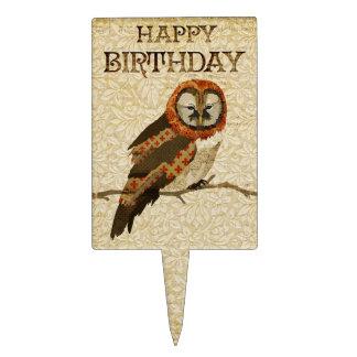 Primero de la torta de cumpleaños del búho de las decoración para tarta