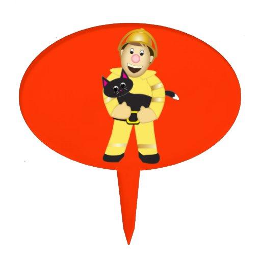 Primero de la torta del bombero del dibujo animado figura para tarta