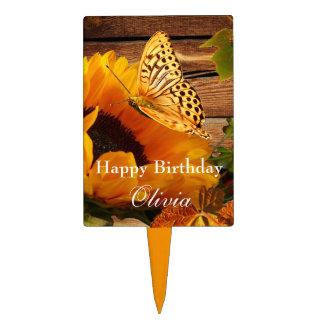 Primero de la torta del feliz cumpleaños, girasol  decoraciones para tartas