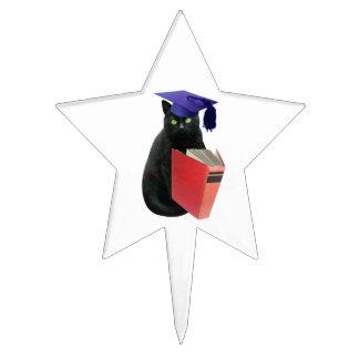 Primero de la torta del graduado del gato negro figura para tarta