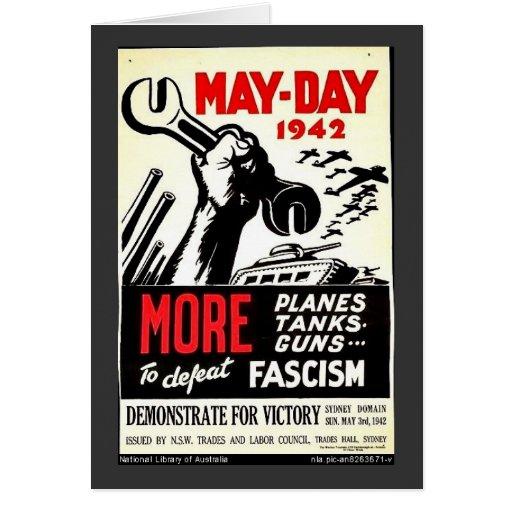 Primero de mayo 1942 más a la derrota tarjeta de felicitación