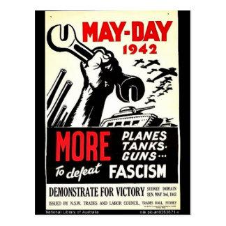 Primero de mayo 1942 más a la derrota tarjetas postales