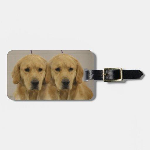Primero del equipaje de los gemelos del golden ret etiqueta para maleta