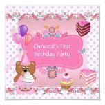 Primero magdalena linda del 1r del cumpleaños rosa anuncio personalizado