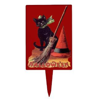 Primero negro de la torta del gato de Halloween Figura De Tarta