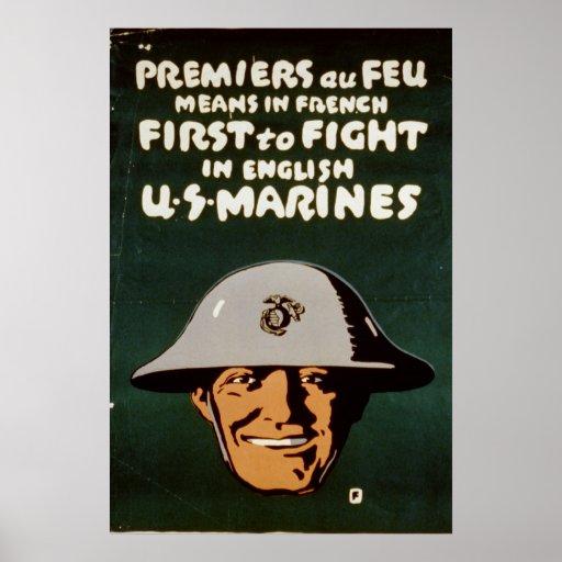 Primero para luchar en inglés póster