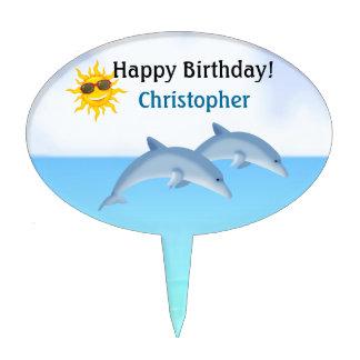 Primero personalizado de la torta del delfín decoración para tarta