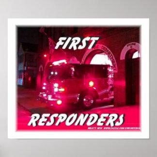 primero, respondedores, posters de los bomberos