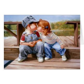 Primero tarjeta de felicitación del beso