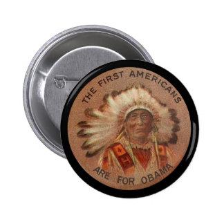 Primeros americanos para Obama Pin Redondo 5 Cm