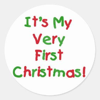 Primeros camisetas y regalos del navidad pegatina redonda