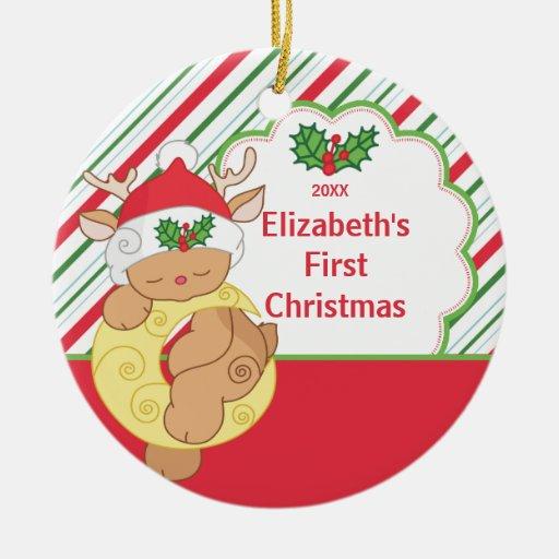 Primeros ciervos del reno del ornamento del adorno navideño redondo de cerámica