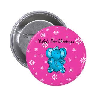 Primeros copos de nieve del rosa del elefante del  pin redondo de 2 pulgadas